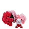10 Red Carnations Bouquet & Teddy Bear Combo
