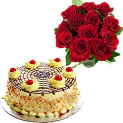10 Red Roses & Butterscotch Cake Combo
