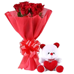 8 Red Roses Bouquet & Teddy Bear