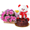 Chocolate Cake with 12 Pink Roses, Teddy Bear