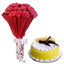 Red Carnations With Pineapple Cake